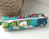 Colorful Floral Woodland Cute Pencil Case Boxy Pouch Daisy Zipper Pouch Teal Pencil Pouch