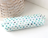 Cute Blue and Green Polka Dot Pencil Case Boxy Pouch Polka Dot Zipper Pouch Blue and Green Pencil Pouch