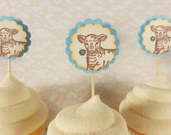 25 Lamb Baby Shower Cupcake Toppers, Gender Reveal Party, Birthday, Baby Boy, Cake Toppers, Plant Picks