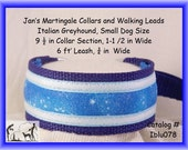 "Jan's Martingales, Blue Collar Leash Combination Walking Lead,  Italian Greyhound, Small Dog Size 9 1/2 "" Collar Section Iblu078"