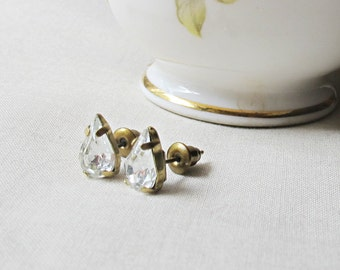 Crystal Clear Swarovski Earrings Ear Studs Vintage Crystal Teardrop Pear. Glam It Up Jewellery dspdavey Jewelry. Cute Small Miniature