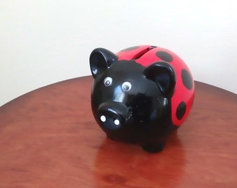 Vintage Ceramic Lady Bug Money Pig - Free Shipping