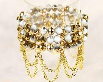 Solange Bridal Bracelet Cuff, Boho Wedding Bracelet, Bohemian Bracelet, Gold Bracelet, Bridesmaid Bracelet Gift, Bridal Party Jewelry Gift