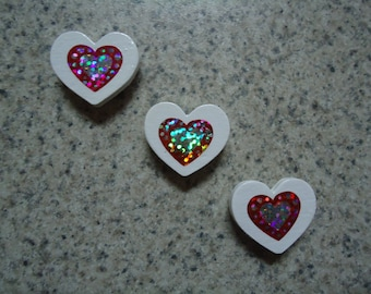Set of 3 Red and Silver  Holographic Hearts on Mini White Wood Heart Magnets - Kitchen Decor