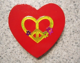 Neon Yellow Heart Peace Sign on a Red Wood Heart  Magnet - Kitchen Decor