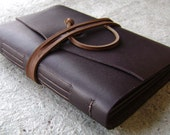 Slim leather photo album, for 4-inch by 6-inch photos, dark brown, by Dancing Grey Studio(1913)