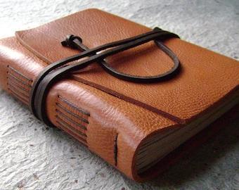 "Leather journal, rustic orange, 4"" x 6"", handmade journal by Dancing Grey Studio(0012)"