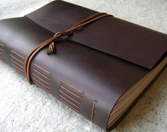 """8.5""""x 11"""" leather journal, dark brown journal, 408 pages, handmade leather journal by Dancing Grey Studio (2099)"""