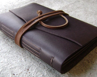Slim leather photo album, for 4-inch by 6-inch photos, dark brown, by Dancing Grey Studio(1932)