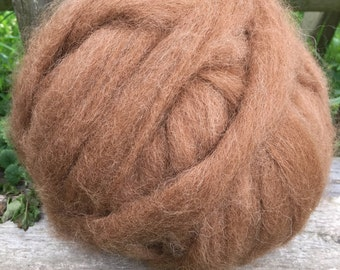 Alpaca Roving, Spinning Fiber, Medium Fawn, Natural Color 4 Ounces, Annalise