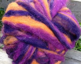 Alpaca Wool Roving, Spinning, Felting, Purple, Orange