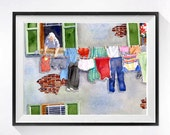 1. Italian Laundry Art Watercolor PRINT clothesline / Wall decor / European villa landscape wall art / Gray painting Mediterranean / funny