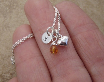 Little girl's Tiny initial Necklace - Tiny heart necklace - Flower girl gift - Little girl's birthstone necklace - Photo NOT actual size