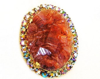 Juliana DeLizza and Elster Amber Geode Crystal Brooch Necklace Pendant