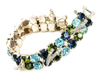Double Row Blue Green Aqua Rhinestone Bracelet