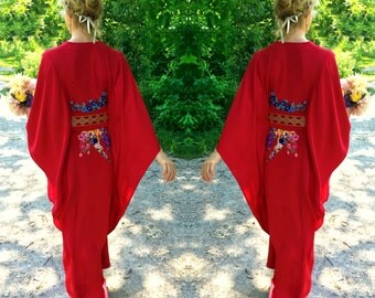 Kaftan Caftan Floral Silk Dress / Custom Made Kaftan / 70s Vintage Style Kaftan / Custom Bridesmaid Dress / Wedding Dress / Many Colors