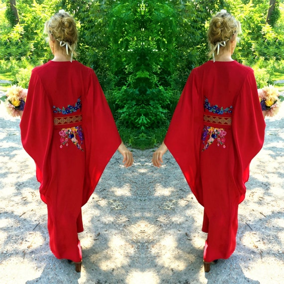 Embroidered Floral Caftan - Custom and Handmade
