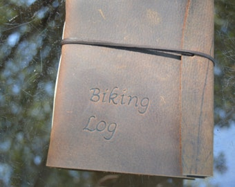 Handmade Leather Bicycling Journal with FREE Personalization