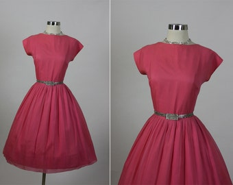 Vintage 1950s 50s Toni Todd Chiffon Vixen Wedding Party Dress M