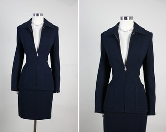 CHRISTIAN DIOR Boutique Couture  Hourglass Dress Skirt Suit M