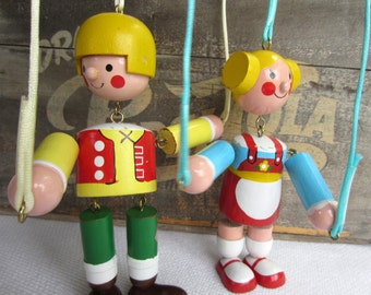 Vintage Colorful Wooden String Marionette Folk Puppets made in Taiwan