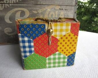 Vintage Calico Patchwork Cardboard Box Retro Treasure Box
