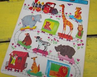 Vintage 1966 Zoo Train Whitman Frame Tray Puzzle Nursery Decor