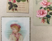 New Year, Christmas small Victorian scrap cards from old 1880's scrapbook, 3 cards