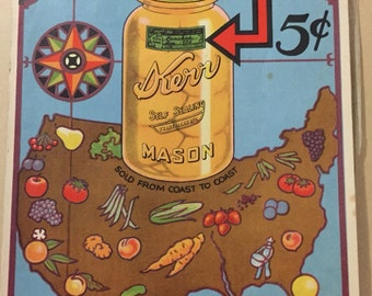 1935 KERR Mason CANNING LABELS booklet, recipes, pickles recipes, antique jams, tomato jam, green black colors gummed labels, 56 labels