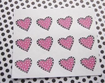 Valentine Stickers Heart Stickers One Inch Round Ses301b