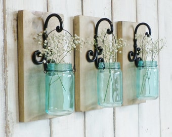 New...Chic Country Farmhouse Wall Decor...Individual Hanging Turquoise Jars...Set of 2 or 3.. Your choice of Stain