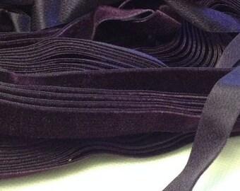 Vintage 1930's Silk Charmeuse Velvet Ribbon 5/8 Inch Deep Plum