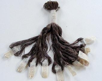 Antique 1900's Silk Embroidery Floss Brainerd Roman Floss Tobacco Brown