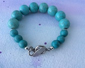 FREE SHIPPING Large Turquoise Stone Sterling Silver Bracelet