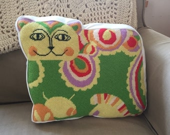 Needlepoint cat pillow bright pop colors