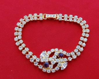 "20% off sale AMAZING Vintage 1940s Czech art deco royal purple  and rhinestone gold tone  7"" bracelet  in mint condition"