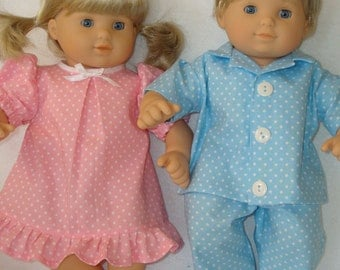 """15 Inch Doll Clothes/Polka Dot Pajamas/Gown and Pajamas/3 piece set made to fit 15"""" Bitty Baby Twin Dolls/READY TO SHIP"""