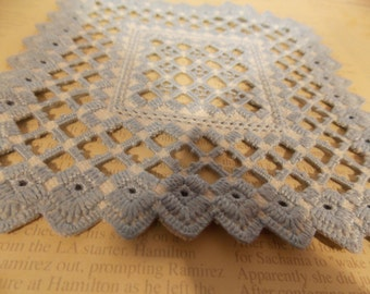 Vintage Blue Hardanger Doily, Table Doily, Delicate Tiny Stitches, Vintage Antique Table Dressing, Display