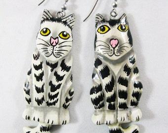 Vintage Cat Earrings, Lightweight Painted Wood
