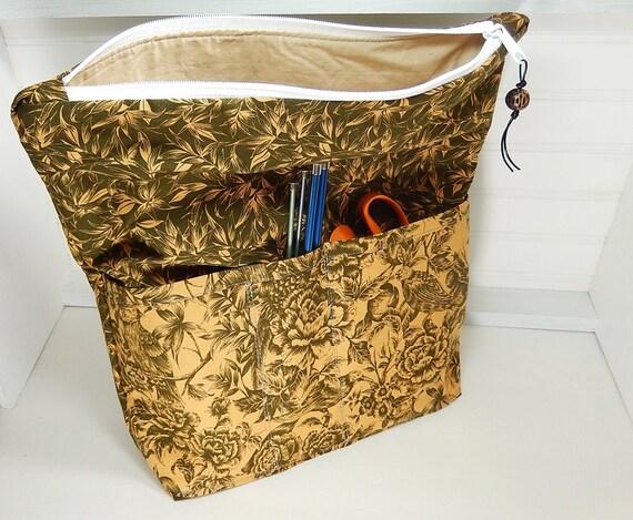 Zippered Knitting Bag : Knitting bag extra large zipper pouch crochet project
