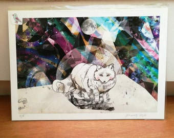 Limited Edition Fine Art Print: 'Arctic Fox' - Arctic Fox Artwork - Modern Wall Art - Birthday Present - Home