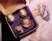 Vintage 800 Silver (might be 10K?) Cameo Pin/Pendant & Earrings CARNELIAN Marcasites HOPLESS Romantic Don't Miss These Beauties