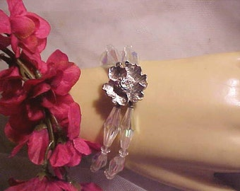 Vintage 60s CRYSTAL Bracelet Oblong Aurora Borealis Silvery Flower Clasp Elegant Rich Style Bridal and All Ladies And Occasions