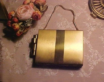 Vintage Compact & Cigarette Carryall Purse Handle/Orig Comb Lipstick