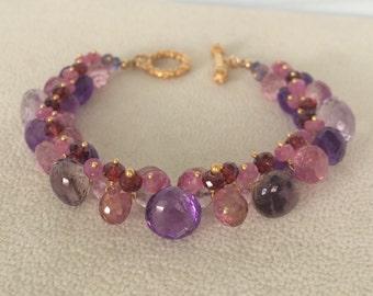 Semiprecious Gemstone Cluster Bracelet in Gold Vermeil with Moss Amethyst, Amethyst, Mystic Pink Quartz, Pink Sapphire, Garnet, Iolite