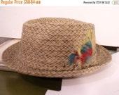 SALE men's hat tiki cocktail mad men lounge size 7 straw cloth dandy Italy punk rocker '50s '60s summer