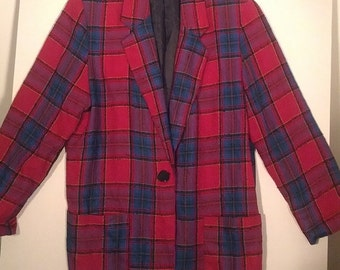 SALE fuchsia plaid tartan jacket blazer suit coat Requirements size 8  grunge plaid tartan boho