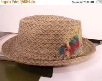 SALE men's hat tiki cocktail mad men lounge size 7 straw cloth dandy Italy punk rocker '50s '60s summer