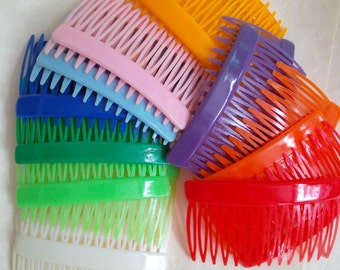 Vintage colorful haricomb - 10 pairs hair combs - bright rainbow colors for girls - craft supplies for hair accessories