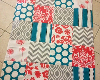 Baby patchwork blanket Teal coral gray  minky dot